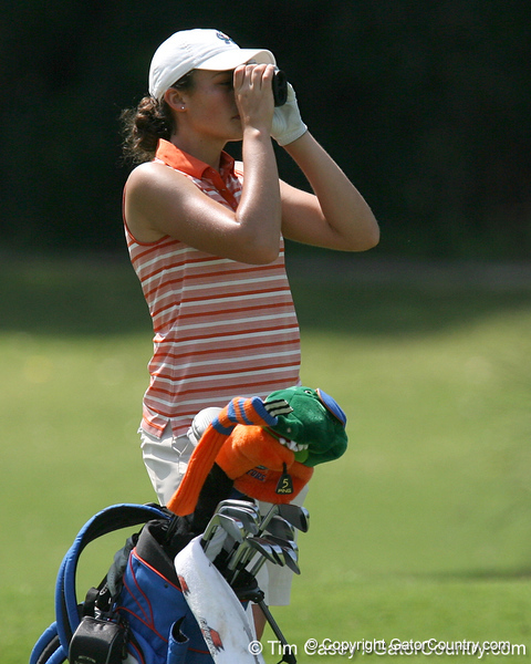Florida freshman Evan Jensen checks the distance to the green during the first round of the NCAA Women's Golf East Regional on Thursday, May 7, 2009 at the Mark Bostick Golf Course in Gainesville, Fla. / Gator Country photo by Tim Casey