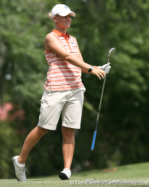 Florida sophomore Jessica Yadloczky follows through on a tee shot during the first round of the NCAA Women's Golf East Regional on Thursday, May 7, 2009 at the Mark Bostick Golf Course in Gainesville, Fla. / Gator Country photo by Tim Casey