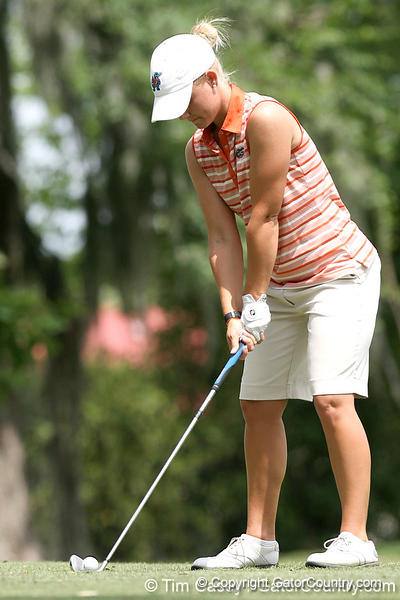 Florida sophomore Jessica Yadloczky lines up a tee shot during the first round of the NCAA Women's Golf East Regional on Thursday, May 7, 2009 at the Mark Bostick Golf Course in Gainesville, Fla. / Gator Country photo by Tim Casey