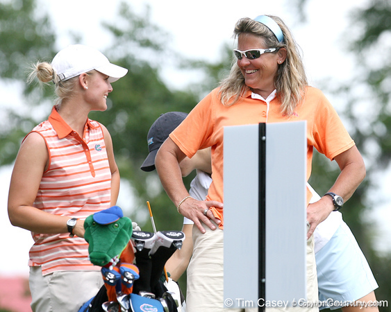 Florida sophomore Jessica Yadloczky talks with coach Jill Briles-Hinton on the 12th hole during the first round of the NCAA Women's Golf East Regional on Thursday, May 7, 2009 at the Mark Bostick Golf Course in Gainesville, Fla. / Gator Country photo by Tim Casey