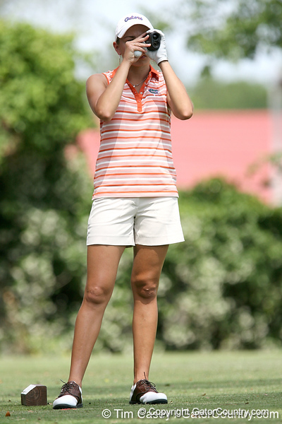 Florida sophomore Lauren Uzelatz checks the distance to the 12th tee during the first round of the NCAA Women's Golf East Regional on Thursday, May 7, 2009 at the Mark Bostick Golf Course in Gainesville, Fla. / Gator Country photo by Tim Casey