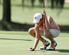 Florida freshman Evan Jensen lines up a putt during the first round of the NCAA Women's Golf East Regional on Thursday, May 7, 2009 at the Mark Bostick Golf Course in Gainesville, Fla. / Gator Country photo by Tim Casey