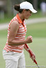 Florida freshman Evan Jensen reacts after making a putt during the first round of the NCAA Women's Golf East Regional on Thursday, May 7, 2009 at the Mark Bostick Golf Course in Gainesville, Fla. / Gator Country photo by Tim Casey