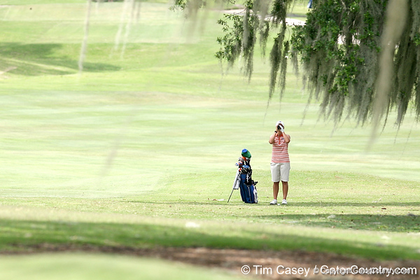 Florida sophomore Jessica Yadloczky checks the distance to the pin on the 9th hole during the first round of the NCAA Women's Golf East Regional on Thursday, May 7, 2009 at the Mark Bostick Golf Course in Gainesville, Fla. / Gator Country photo by Tim Casey