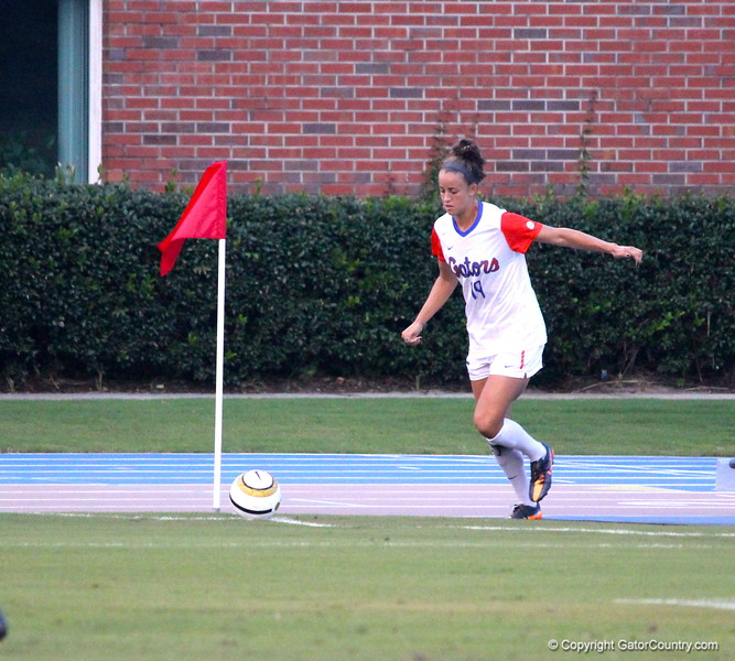 Havana Solaun corner kicking during the Gators' 3-0 loss to the Florida State Seminoles on Friday, August 30, 2013 at James G. Pressly Stadium in Gainesville, Fla. / Gator Country photo by Danielle Bloch