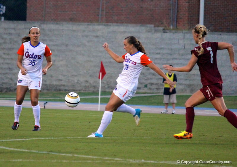 Meggie Dougherty Howard about to kick the ball during the Gators' 3-0 loss to the Florida State Seminoles on Friday, August 30, 2013 at James G. Pressly Stadium in Gainesville, Fla. / Gator Country photo by Danielle Bloch