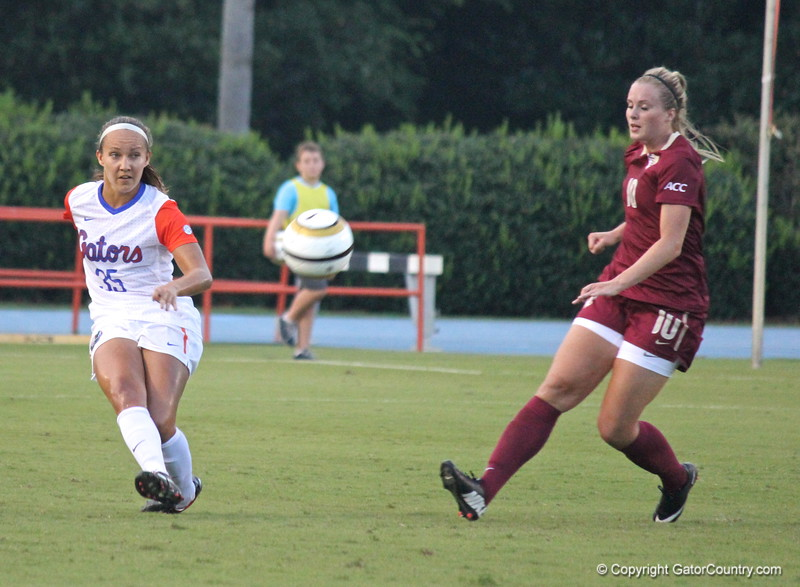 Junior Karina Gutsche during the Gators' 3-0 loss to the Florida State Seminoles on Friday, August 30, 2013 at James G. Pressly Stadium in Gainesville, Fla. / Gator Country photo by Danielle Bloch