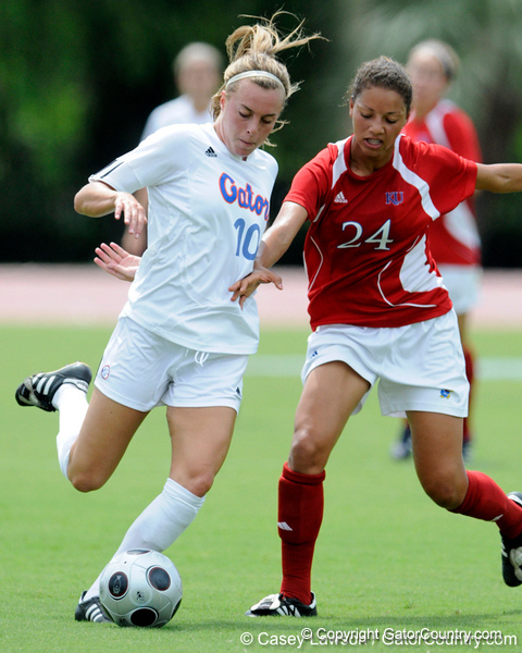 photo by Casey Brooke Lawson<br /> <br /> Florida junior forward/midfielder Angela Napolitano makes a move around a defender during the Gators' 2-1 win against the Kansas Jayhawks on Sunday, September 21, 2008 at James G. Pressly Stadium in Gainesville, Fla.