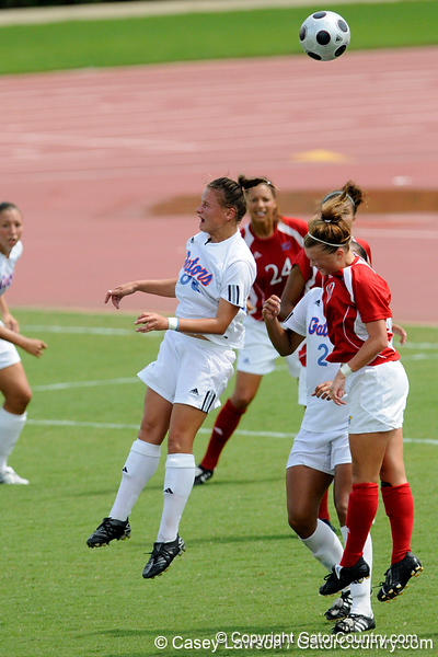 photo by Casey Brooke Lawson<br /> <br /> Florida freshman forward/midfielder Lauren Ray redirects the ball during the Gators' 2-1 win against the Kansas Jayhawks on Sunday, September 21, 2008 at James G. Pressly Stadium in Gainesville, Fla.