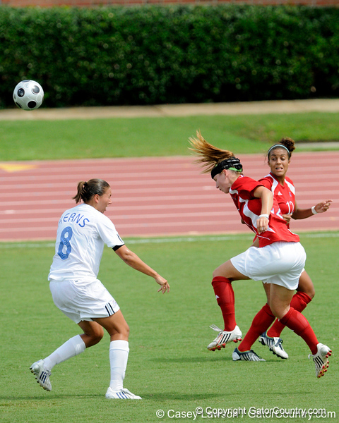 photo by Casey Brooke Lawson<br /> <br /> Florida senior forward Megan Kerns challenges for the ball during the Gators' 2-1 win against the Kansas Jayhawks on Sunday, September 21, 2008 at James G. Pressly Stadium in Gainesville, Fla.