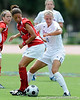 photo by Casey Brooke Lawson<br /> <br /> Florida junior midfielder Jessica Eicken fights for the ball during the Gators' 2-1 win against the Kansas Jayhawks on Sunday, September 21, 2008 at James G. Pressly Stadium in Gainesville, Fla.