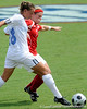 photo by Casey Brooke Lawson<br /> <br /> Florida freshman midfielder/defender Sarah Chapman fights for the ball during the Gators' 2-1 win against the Kansas Jayhawks on Sunday, September 21, 2008 at James G. Pressly Stadium in Gainesville, Fla.