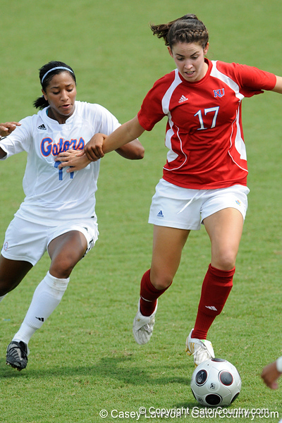photo by Casey Brooke Lawson<br /> <br /> Florida freshman defender Jazmyne Avant fights for the ball during the Gators' 2-1 win against the Kansas Jayhawks on Sunday, September 21, 2008 at James G. Pressly Stadium in Gainesville, Fla.