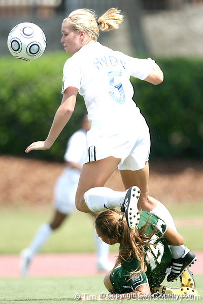 Florida senior defender Lauren Hyde gets an assist on Tahnai Annis's game-winning goal while being upended during the Gators' 2-1 win against the South Florida Bulls on Sunday, August 30, 2009 at James G. Pressly Stadium in Gainesville, Fla / Gator Country photo by Tim Casey