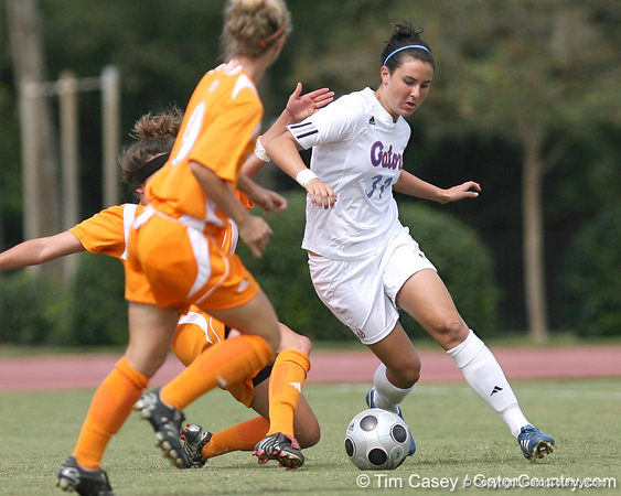photo by Tim Casey<br /> <br /> Florida freshman midfielder/defender Ericka Miller  during the Gators' 5-1 win against the Tennessee Lady Volunteers on Sunday, September 28, 2008 at James G. Pressly Stadium in Gainesville, Fla.