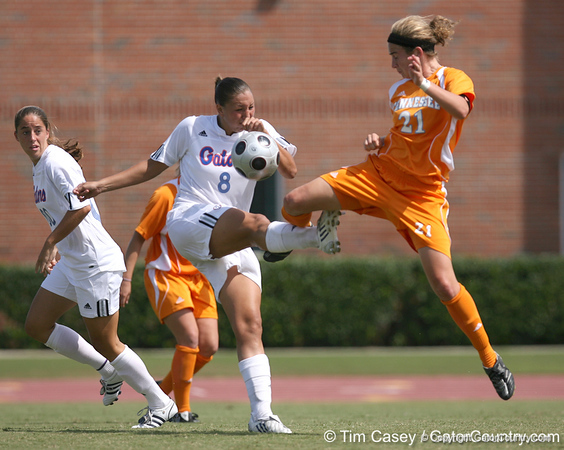 photo by Tim Casey<br /> <br /> Florida senior forward Megan Kerns during the Gators' 5-1 win against the Tennessee Lady Volunteers on Sunday, September 28, 2008 at James G. Pressly Stadium in Gainesville, Fla.