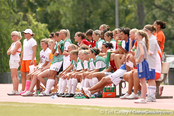 photo by Tim Casey<br /> <br /> The Florida soccer team watches from the bench during the Gators' 5-1 win against the Tennessee Lady Volunteers on Sunday, September 28, 2008 at James G. Pressly Stadium in Gainesville, Fla.
