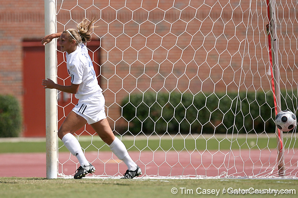 photo by Tim Casey<br /> <br /> Florida midfielder/forward Lindsay Thompson scores a goal during the Gators' 5-1 win against the Tennessee Lady Volunteers on Sunday, September 28, 2008 at James G. Pressly Stadium in Gainesville, Fla.
