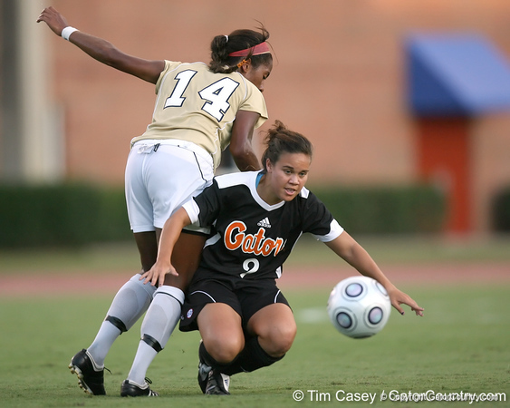 Florida sophomore midfielder Tahnai Annis collides with FIU defender Katrina Rose during the Gators' 3-0 win against the Golden Panthers on Friday, August 28, 2009 at James G. Pressly Stadium in Gainesville, Fla / Gator Country photo by Tim Casey