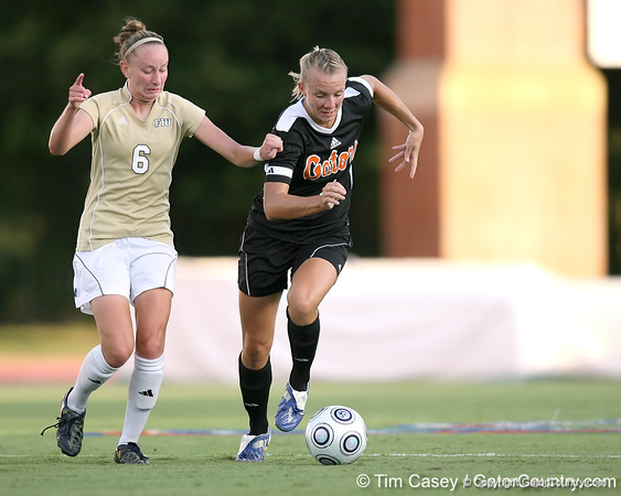 Florida senior midfielder Jessica Eicken brings the ball upfield during the Gators' 3-0 win against the Florida International Golden Panthers on Friday, August 28, 2009 at James G. Pressly Stadium in Gainesville, Fla / Gator Country photo by Tim Casey