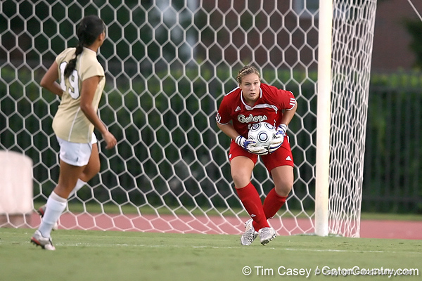 Florida redshirt junior goalkeeper Katie Fraine saves the ball during the Gators' 3-0 win against the Florida International Golden Panthers on Friday, August 28, 2009 at James G. Pressly Stadium in Gainesville, Fla / Gator Country photo by Tim Casey