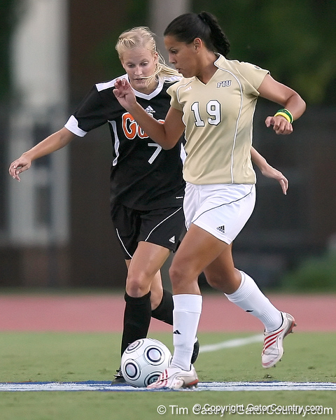 Florida freshman Kathryn Williamson fights for the ball during the Gators' 3-0 win against the Florida International Golden Panthers on Friday, August 28, 2009 at James G. Pressly Stadium in Gainesville, Fla / Gator Country photo by Tim Casey