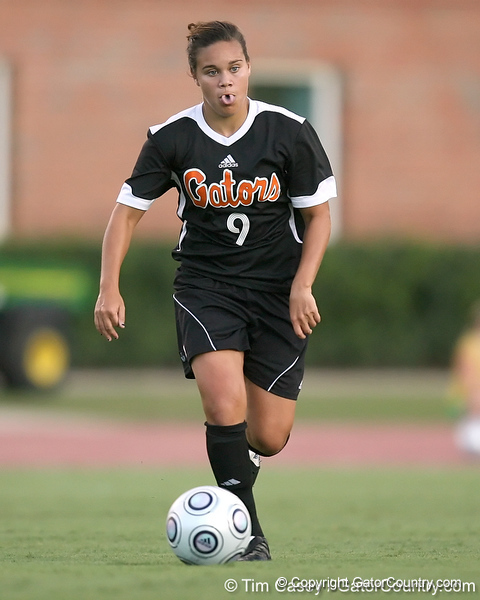 Florida sophomore midfielder Tahnai Annis brings the ball upfield during the Gators' 3-0 win against the Florida International Golden Panthers on Friday, August 28, 2009 at James G. Pressly Stadium in Gainesville, Fla / Gator Country photo by Tim Casey