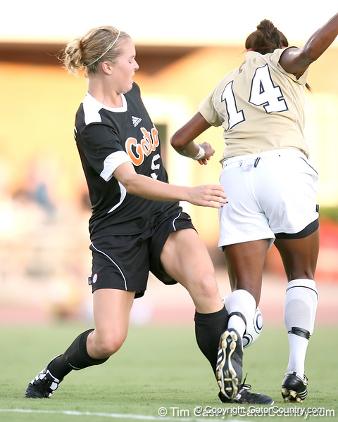 Florida senior defender Lauren Hyde fights for the ball during the Gators' 3-0 win against the Florida International Golden Panthers on Friday, August 28, 2009 at James G. Pressly Stadium in Gainesville, Fla / Gator Country photo by Tim Casey