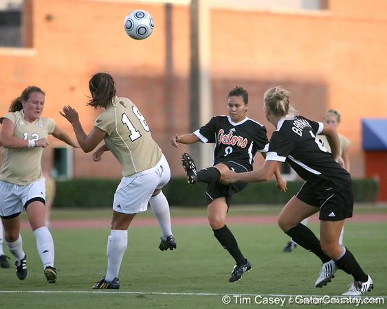 Florida sophomore midfielder Tahnai Annis has her shot blocked during the Gators' 3-0 win against the Florida International Golden Panthers on Friday, August 28, 2009 at James G. Pressly Stadium in Gainesville, Fla / Gator Country photo by Tim Casey