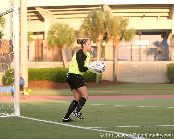 FIU goalkeeper Melanie Raimo makes a save during the Gators' 3-0 win against the Golden Panthers on Friday, August 28, 2009 at James G. Pressly Stadium in Gainesville, Fla / Gator Country photo by Tim Casey