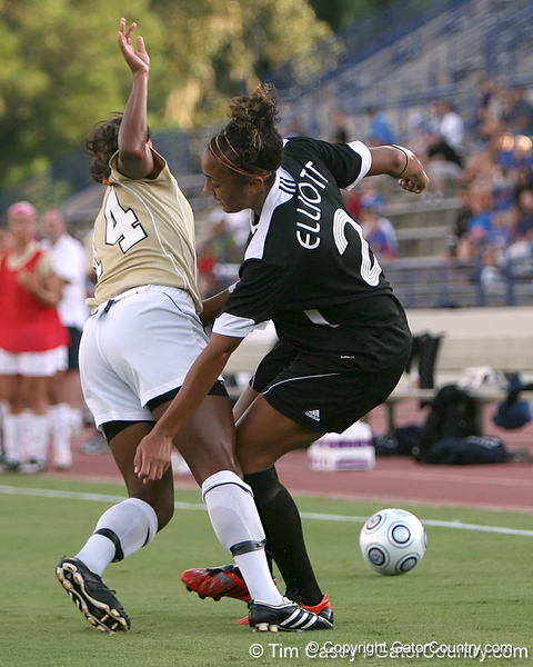 Florida senior midfielder Ashlee Elliott fights for the ball during the Gators' 3-0 win against the Florida International Golden Panthers on Friday, August 28, 2009 at James G. Pressly Stadium in Gainesville, Fla / Gator Country photo by Tim Casey