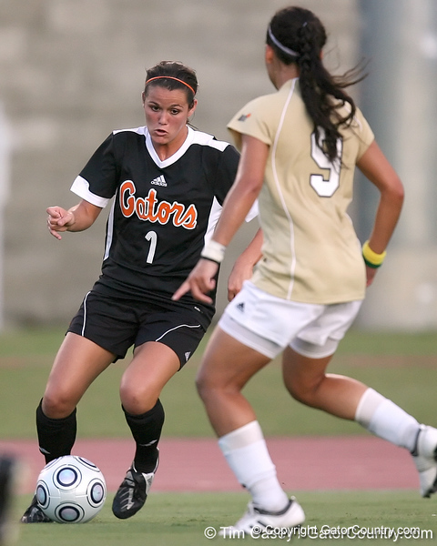 Florida freshman forward/ midfielder Brooke Thigpen moves towards the goal during the first half of the Gators' 3-0 win against the Florida International Golden Panthers on Friday, August 28, 2009 at James G. Pressly Stadium in Gainesville, Fla / Gator Country photo by Tim Casey