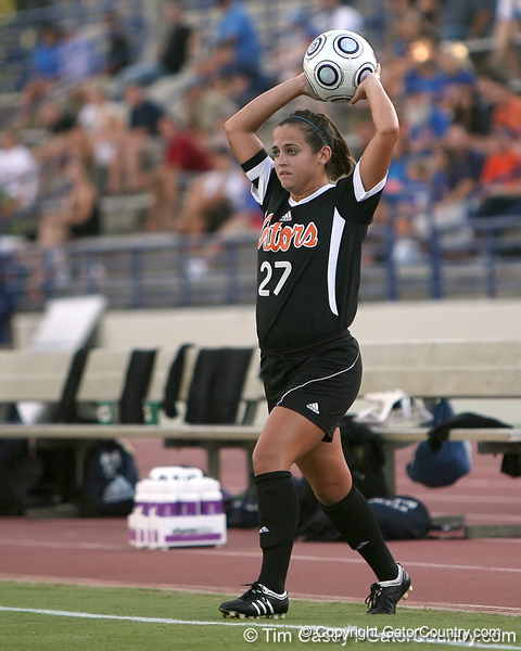 Florida senior forward Tricia Townsend throws the ball in during the Gators' 3-0 win against the Florida International Golden Panthers on Friday, August 28, 2009 at James G. Pressly Stadium in Gainesville, Fla / Gator Country photo by Tim Casey