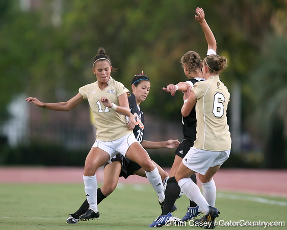 Florida junior defender Nicky Kit fights for the ball during the Gators' 3-0 win against the Florida International Golden Panthers on Friday, August 28, 2009 at James G. Pressly Stadium in Gainesville, Fla / Gator Country photo by Tim Casey