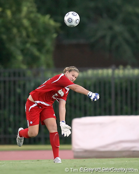 Florida redshirt junior goalkeeper Katie Fraine passes the ball during the Gators' 3-0 win against the Florida International Golden Panthers on Friday, August 28, 2009 at James G. Pressly Stadium in Gainesville, Fla / Gator Country photo by Tim Casey