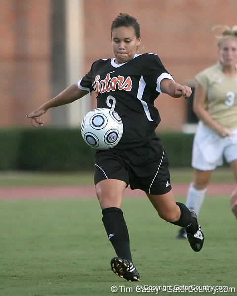 Florida sophomore midfielder Tahnai Annis prepares to shoot during the Gators' 3-0 win against the Florida International Golden Panthers on Friday, August 28, 2009 at James G. Pressly Stadium in Gainesville, Fla / Gator Country photo by Tim Casey