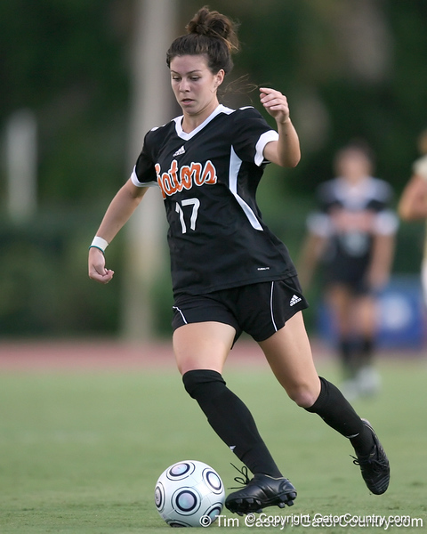 Florida freshman midfielder Erika Tymrak prepares to shoot the ball during the Gators' 3-0 win against the Florida International Golden Panthers on Friday, August 28, 2009 at James G. Pressly Stadium in Gainesville, Fla / Gator Country photo by Tim Casey