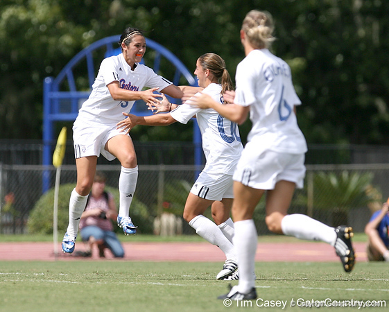 photo by Tim Casey<br /> <br /> Florida sophomore defender Nicky Kit and Laura Ray during the first half of the Gators' 3-0 win against the Mississippi State Bulldogs on Sunday, October 12, 2008 at James G. Pressly Stadium in Gainesville, Fla.