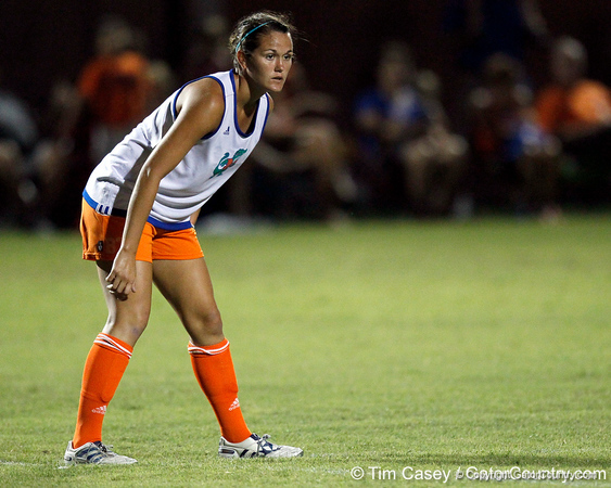 Florida junior midfielder/defender Brooke Thigpen follows the ball during the Gators' Orange & Blue Scrimmage on Friday, August 12, 2011 at the UF Lacrosse/Soccer Facility in Gainesville, Fla. / Gator Country photo by Tim Casey