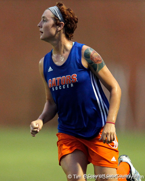 Florida sophomore forward Taylor Travis follows the ball during the Gators' Orange & Blue Scrimmage on Friday, August 12, 2011 at the UF Lacrosse/Soccer Facility in Gainesville, Fla. / Gator Country photo by Tim Casey