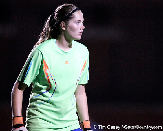 Florida freshman goalkeeper Taylor Burke watches the ball during the Gators' Orange & Blue Scrimmage on Friday, August 12, 2011 at the UF Lacrosse/Soccer Facility in Gainesville, Fla. / Gator Country photo by Tim Casey