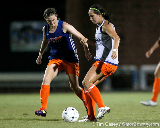 Florida junior midfielder Holly King battles for possession during the Gators' Orange & Blue Scrimmage on Friday, August 12, 2011 at the UF Lacrosse/Soccer Facility in Gainesville, Fla. / Gator Country photo by Tim Casey