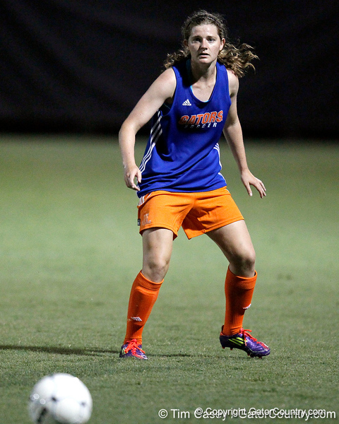 Florida freshman midfielder Jennifer Larrick watches the ball during the Gators' Orange & Blue Scrimmage on Friday, August 12, 2011 at the UF Lacrosse/Soccer Facility in Gainesville, Fla. / Gator Country photo by Tim Casey