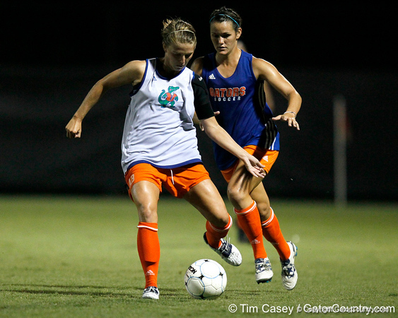 Florida freshman defender Annie Bobbitt passes the ball during the Gators' Orange & Blue Scrimmage on Friday, August 12, 2011 at the UF Lacrosse/Soccer Facility in Gainesville, Fla. / Gator Country photo by Tim Casey