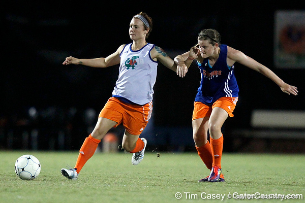 Florida sophomore forward Taylor Travis passes the ball during the Gators' Orange & Blue Scrimmage on Friday, August 12, 2011 at the UF Lacrosse/Soccer Facility in Gainesville, Fla. / Gator Country photo by Tim Casey