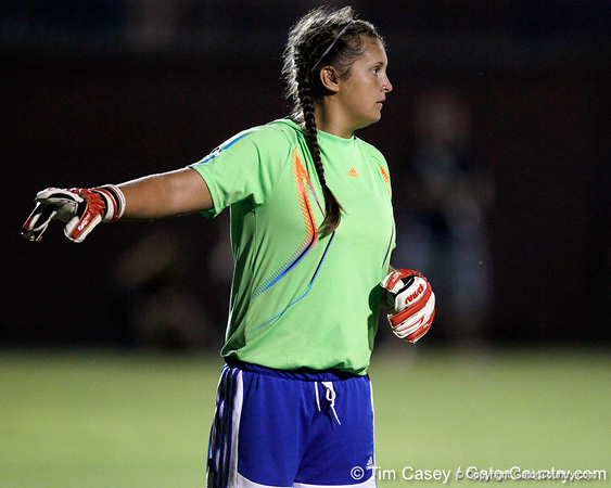 Florida senior goalkeeper Brooke Chancey motions to a teammate during the Gators' Orange & Blue Scrimmage on Friday, August 12, 2011 at the UF Lacrosse/Soccer Facility in Gainesville, Fla. / Gator Country photo by Tim Casey