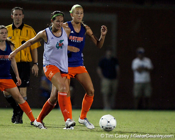 Florida junior midfielder Holly King battles for the ball during the Gators' Orange & Blue Scrimmage on Friday, August 12, 2011 at the UF Lacrosse/Soccer Facility in Gainesville, Fla. / Gator Country photo by Tim Casey