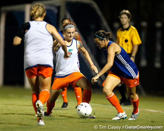 Florida sophomore forward Taylor Travis battles for the ball during the Gators' Orange & Blue Scrimmage on Friday, August 12, 2011 at the UF Lacrosse/Soccer Facility in Gainesville, Fla. / Gator Country photo by Tim Casey
