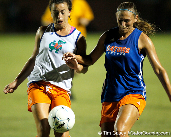 Florida freshman defender Savannah Berry runs after the ball during the Gators' Orange & Blue Scrimmage on Friday, August 12, 2011 at the UF Lacrosse/Soccer Facility in Gainesville, Fla. / Gator Country photo by Tim Casey