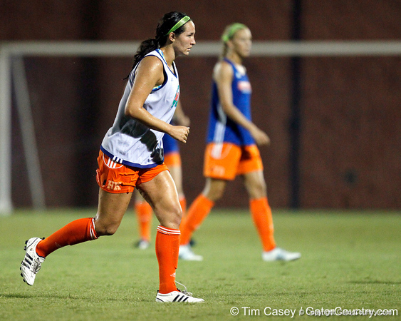 Florida junior midfielder Holly King follows the ball during the Gators' Orange & Blue Scrimmage on Friday, August 12, 2011 at the UF Lacrosse/Soccer Facility in Gainesville, Fla. / Gator Country photo by Tim Casey